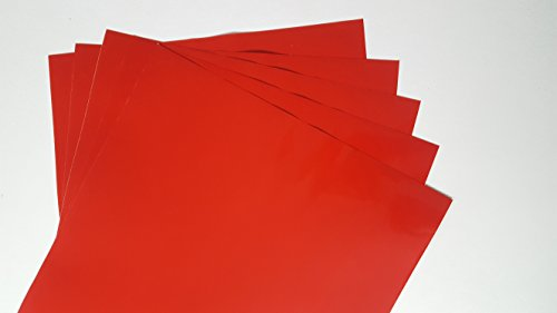 Red (glossy) 5-pack of adhesive vinyl sheets - 12