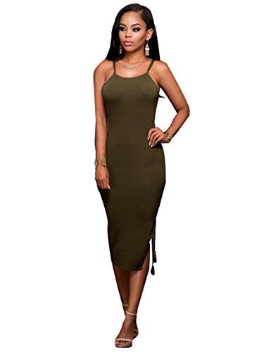 Womens Sexy Spaghetti Strap Backless Split Lace Up Bodycon Clubwear Midi Dress