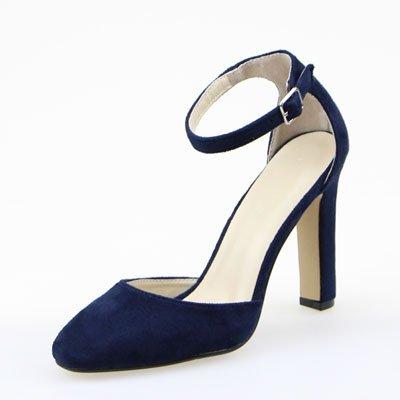 Azul La Shoes De real El Sandalias Primavera Y Mujer Oscuro Correa Código Ranurada Grandes De Zapatos Heel Solo Alta Azul GAOLIM Baotou Verano 1qxwS1z