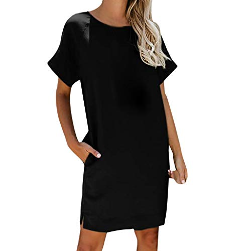 Sunhusing Women's Casual Solid Color Short Sleeve Pocket Dress Ladies Round Neck Mini Sundress Black