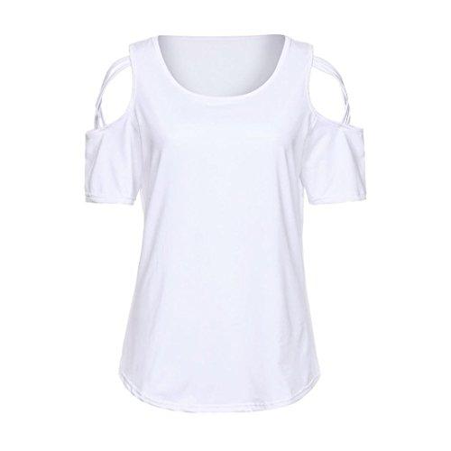 shirt Top yesmile T Camicia Spalla T spalla Donna Solid Tops Felpa Lunga Shirt Pullover Bianco Casuale Strappy Manica Camicetta Off Camicette yFzqqw0Yp