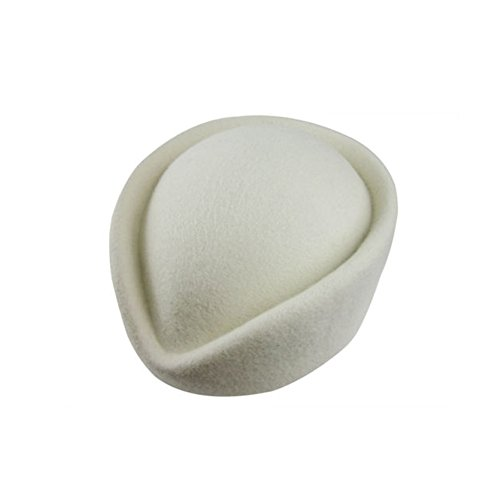 YING LAN Wool Cap Stewardess Pillbox Hat Teardrop Fascinator Base Sweet White