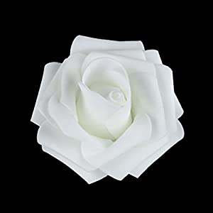 vLoveLife 7cm White Artificial Rose Head PE Foam Flowers DIY Real Touch 3D Flower Heads for Wedding Party Home Decoration - Pack Of 50 44