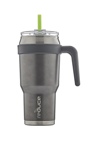 REDUCE COLD-1 Stainless Steel 40oz Extra Large Vacuum Insulated Thermal Mug, 3-in-1 Lid and Handle - Ideal Cup for Coffee or Water, Powder Coat (Metallic Gray), Great for Home/Travel, Straw ()