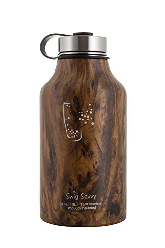 SWIG SAVVY Stainless Steel Water Bottle - with Vacuum Insulated Double Wall Design & Leak Proof Cap for Hot & Cold Drinks - Reusable Container for Sports, Gym & Travel - BPA Free - 64oz (Wood)