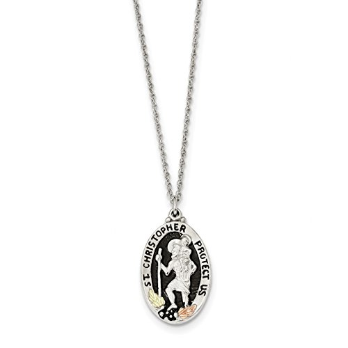 Ice Carats 925 Sterling Silver 12K Accents Saint Christopher Chain Necklace Ring Black Hill Gold Religious Fine Jewelry Gift Valentine Day Set For Women Heart