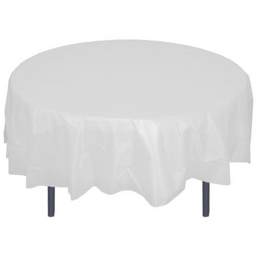 84'' Round White Plastic Tablecloth 12 Pieces Party Decor by Unique (Image #2)