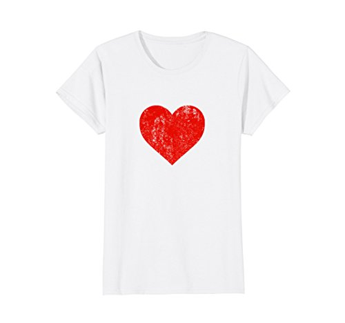 Distressed Heart (Womens I Love You Red Heart Distressed Valentine's Day T Shirt Small White)