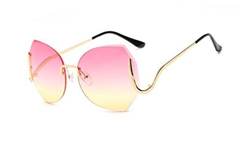 personalidad yellow the GLSYJ gafas sol LSHGYJ sol cerco gafas sol de powder under degradado grande box gafas bastidor moda recortar Gold on de Sin de the 1fxw14qI