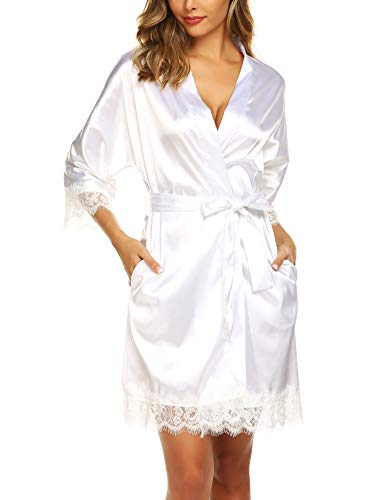 URRU Women's Bathrobes Short Kimono Robe Bridesmaids Satin Sleepwear Above Knee Length White XL