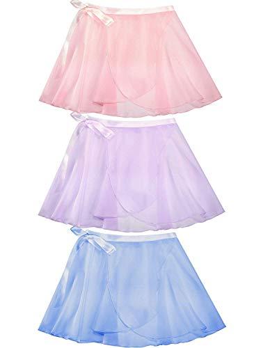 Norme 3 Pieces Kids Girls Dance Ballet Chiffon Skirt Lace Wrap, Pink, Size -
