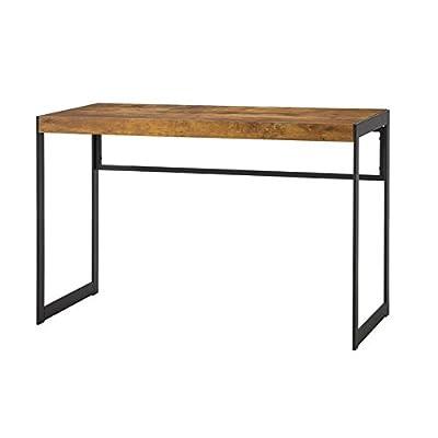 Estrella Writing Desk with Metal Frame Antique Nutmeg and Gunmetal - Set includes: One (1) writing desk Materials: MDF, Metal and Paper veneer Finish Color: Antique Nutmeg and Gunmetal - writing-desks, living-room-furniture, living-room - 31U1tDfhdnL. SS400  -