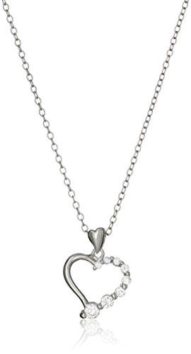 - Sterling Silver Cubic Zirconia Journey Open Heart Pendant Necklace, 18