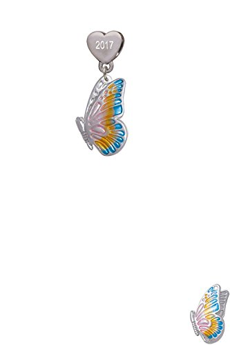 Large Translucent Pastel Flying Butterfly Custom Year Stainless Steel Heart Bead Charm