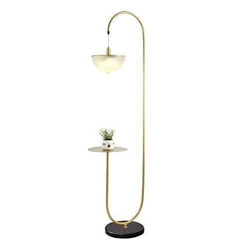 Raw Brass Table Lamp - Hsyile Lighting KU300226 Modern Standing Light for Bedroom & Living Room Floor Lamp with a Table,LED Floor Lamp for Reading - 3-Light - Brushed Brass Finish