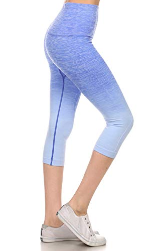 (Women's Workout Training Capris Ombre Space Dye Ultrasoft Stretchy Athletic Yoga Pants Tights (Royal Blue, Medium))