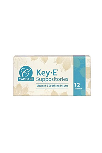 Carlson Key-E Suppositories, Lubricates Dry Areas, Vaginal/Rectal, Vitamin E, Box of 12