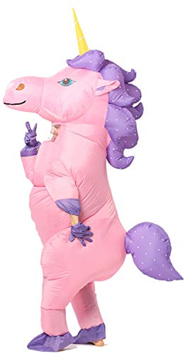 Inflatable Unicorn Costume Horn Pony Horse Suit for Halloween (Adult Pink)