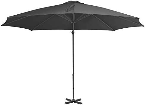 アルミポール無煙炭付きカンチレバー傘300 cmホームガーデン芝生の庭屋外生活屋外傘サンシェード