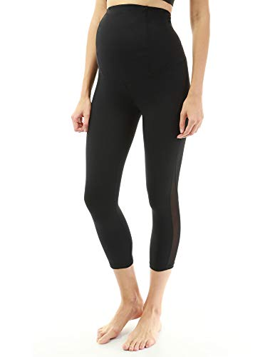 PattyBoutik Mama Shaping Series Maternity Crop Legging Yoga Pants (Black with Mesh Medium)