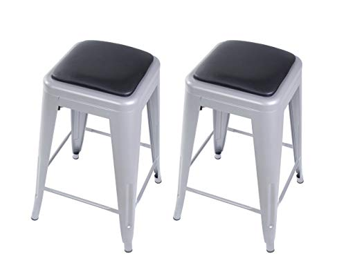 "GIA M01-24GR_PU Counter Height 24"" Gray Stool, 2-Pack, Black Leather Seat"