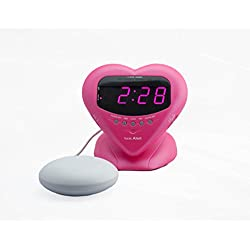 Sonic Alert Sonic Bomb by Extra Loud Heart Alarm Clock with Bed Shaker Vibrator. For Heavy Sleepers, Teenagers, People with Hearing Loss, Seniors, and the Deaf - Sonic Boom Metallic Pink - SBH400SSP