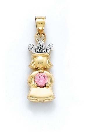 Brut 14 carats avec diamant et topaze rose-Princesse-Pendentif Pierre JewelryWeb 1 cm