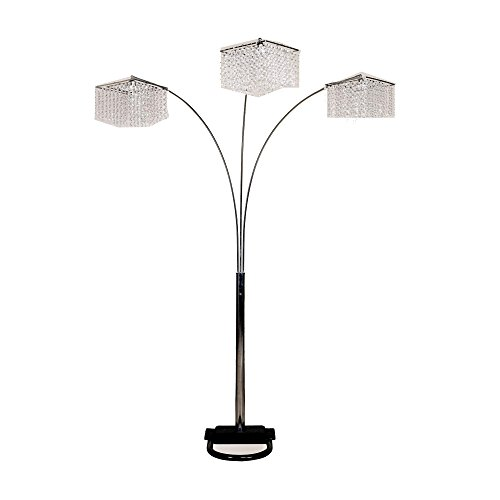 Ore International 6932-2 6932 84-Inch 3 Light Crystal Inspirational Arch Floor Lamp, Silver