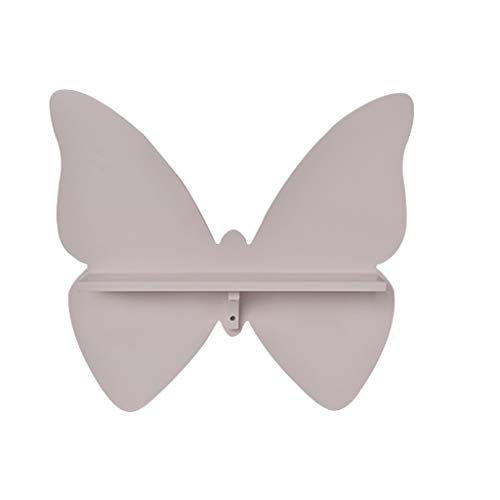 Shelves loating Butterfly Shelf Storage Rack Princess Bedroom Wall Hanging Wall Frame Wall Storage Board (Color : Gray)