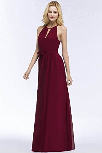 Damen Elegant A-Linie Chiffon Abendkleid Brautjungfernkleid Ballkleid Lang Schwarz 38 UegFCj4