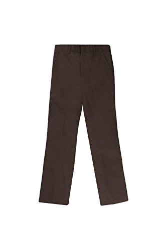 French Toast Little Boys' Flat Front Double Knee Pant with Adjustable Waist, Brown, 5