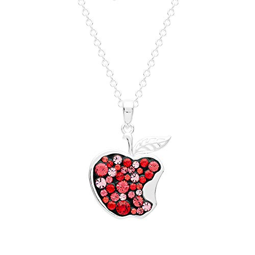 "Disney Snow White Jewelry for Women and Girls, Silver Plated Pave Crystal Apple Pendant Necklace, 18"" Chain for $<!--$29.99-->"