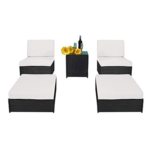 MCombo 5PC Outdoor Rattan Wicker Sofa Couch Patio Furniture Chair Garden Sectional Set with Waterproof Cushion Steel Frame (Armless+Ottoman+Table) 6089