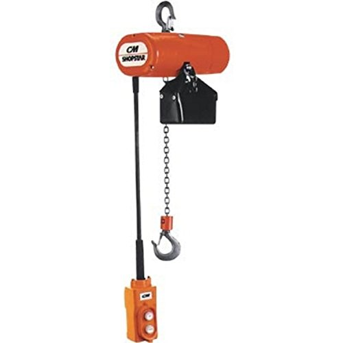 CM 2047 1-Phase Single Speed ShopStar Electric Chain Hoist, 300 lbs Capacity, 10' Lift Height, 16 fpm Lift Speed, 1/6HP, ()