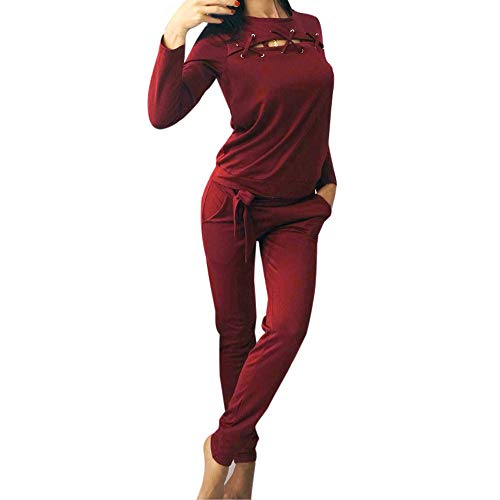 Clearance!Dressin_Women's Round Neck Sleeve Trousers Sport Two Pieces Set Blouse -