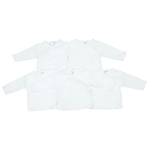 5er Set Baby Wickelshirt Flügelhemdchen Langarm Wickelhemd 100% Baumwolle Jungen Unterwäsche Mädchen, Farbe: Weiß, Größe: 68