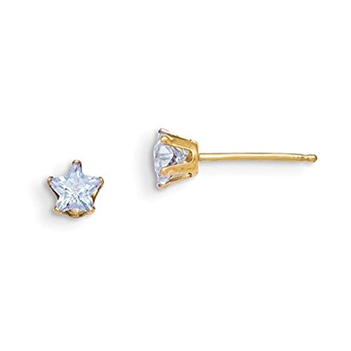 14K Yellow Gold Violet Prong Set Star Shaped CZ Girls Stud Earrings (Gold Yellow Violet 14k)