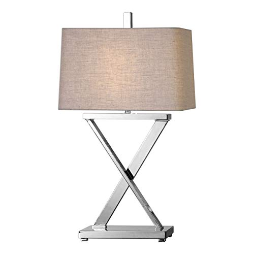 Uttermost Xavier Plated Polished Nickel X-Base Iron Table Lamp