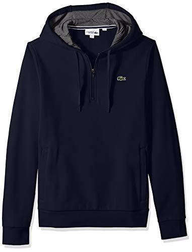 Lacoste Men's Sport Long Sleeve Half Zip Fleece Hoodie, Navy Blue/Pitch, Large