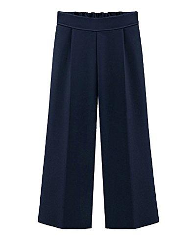 Casual Vita Scuro Larghi Estivi Qitun Lunghezza Eleganti Pantalone Pantaloni Donna Alta Pantaloni Blu 4 Di Forti Chiffon Pantaloni 3 Taglie BBH7Awx