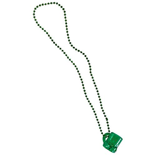 Amscan St. Patrick's Day Plastic Beer Mug Bead Necklace | Party Accessory, 24 Ct Green