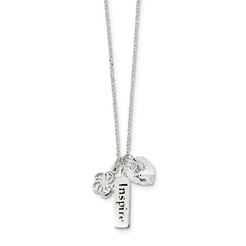 ICE CARATS 925 Sterling Silver Enameled Swarovski Inspire Heart Charm Chain Necklace Inspirational Fine Jewelry Ideal Gifts For Women Gift Set From (Inspirational Heart Necklace)