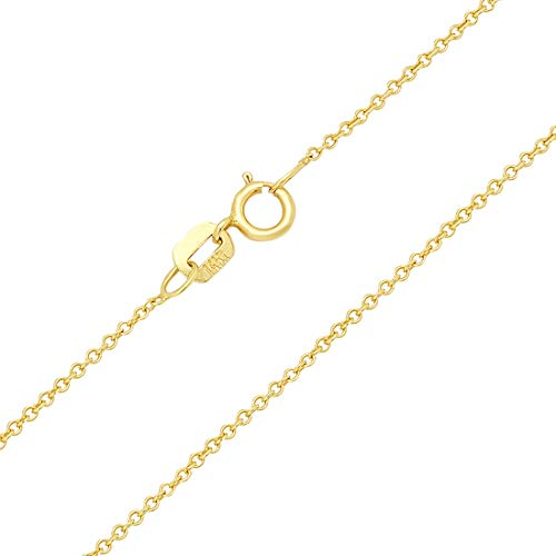 14k Rolo (Forever Flawless Jewelry 14K Yellow Gold 1.1mm Rolo Link Chain Necklace with Spring Ring Clasp - 16 inches)