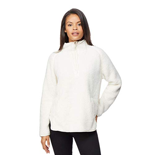 - 32 DEGREES Womens Faux Fur Half Snap Pull Over Top, Cream, XXLarge