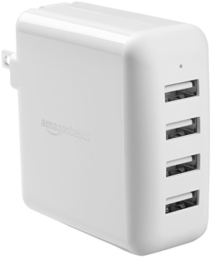 (AmazonBasics 40W 4-Port USB Wall Charger - White)
