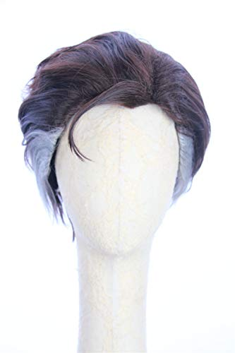 HangCosplay: Doctor Strange Wig Inspired of Movie Doctor Strange Short Brown Straight Fullback Cosplay Hair with White Streaks for Adults and Teens -