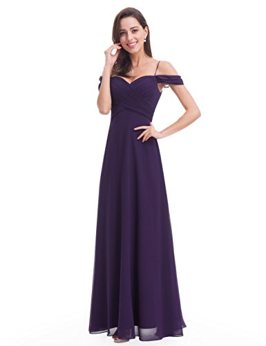 Ever-Pretty Womens Off Shoulder Ruched Long Evening Gown 14 US Dark Purple (Ever Pretty Purple Prom Dress)