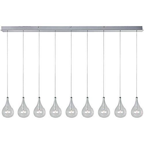ET2 E23119-18 Larmes 9-Light Linear Pendant, Polished Chrome Finish, Clear Glass, 12V G4 Xenon Bulb, 50W Max., Dry Safety Rated, Shade Material, 3750 Rated Lumens