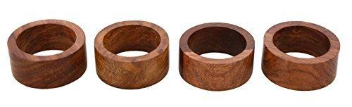Shalinindia Handmade Wood Napkin Ring Set With 4 Napkin Rings - Artisan Crafted in India ()