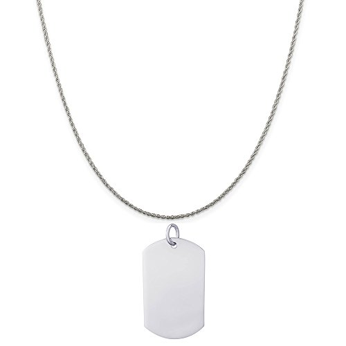 Rembrandt Charms Sterling Silver Dog Tag Polished Finish Charm on a Rope Chain Necklace, 20